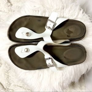Shoes - White Birkenstock Style Thong Sandals